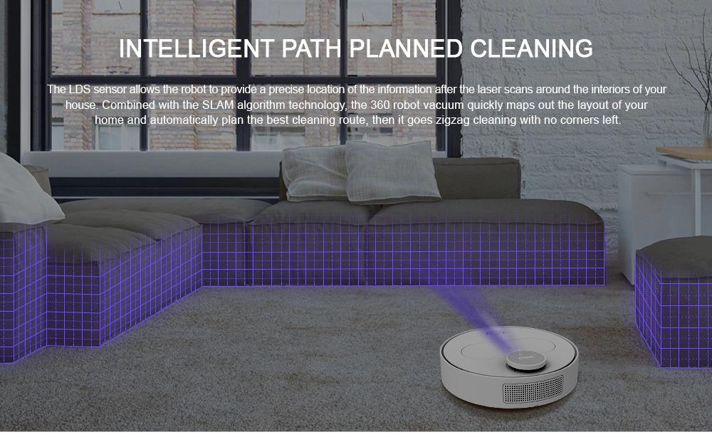 360 S6 tự động Robot hút bụi 1500Pa hút 2 trong 1 quét lau LDS đường dẫn kế hoạch - trắng