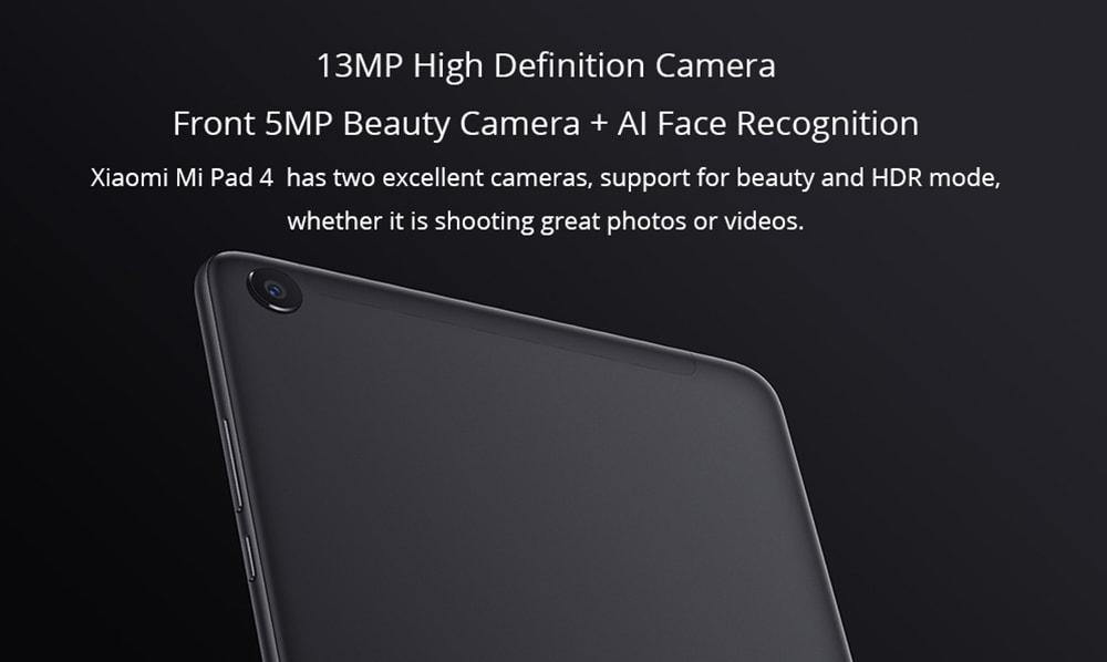 Xiaomi Mi Pad 4 Plus 4G Phablet 10.1 inch MIUI 9.0 Snapdragon 660 4GB RAM 64GB eMMC Nhận dạng khuôn mặt 5.0MP + 13.0MP Camera kép Dual WiFi- Đen 64GB