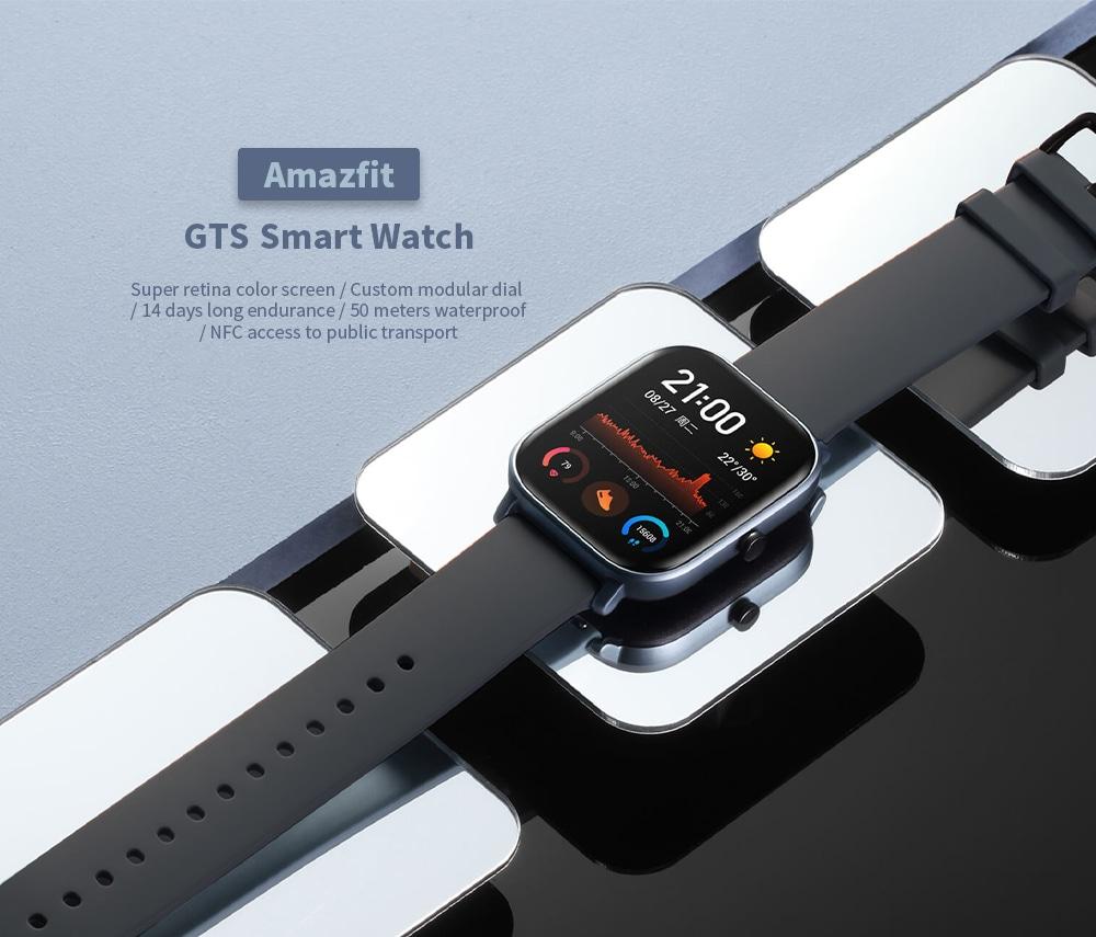 Amazfit GTS Heart Heart Vòng đeo tay chống nước Apple Thanh toán GPS ngoài trời Định vị thể thao Đồng hồ thông minh- Xám