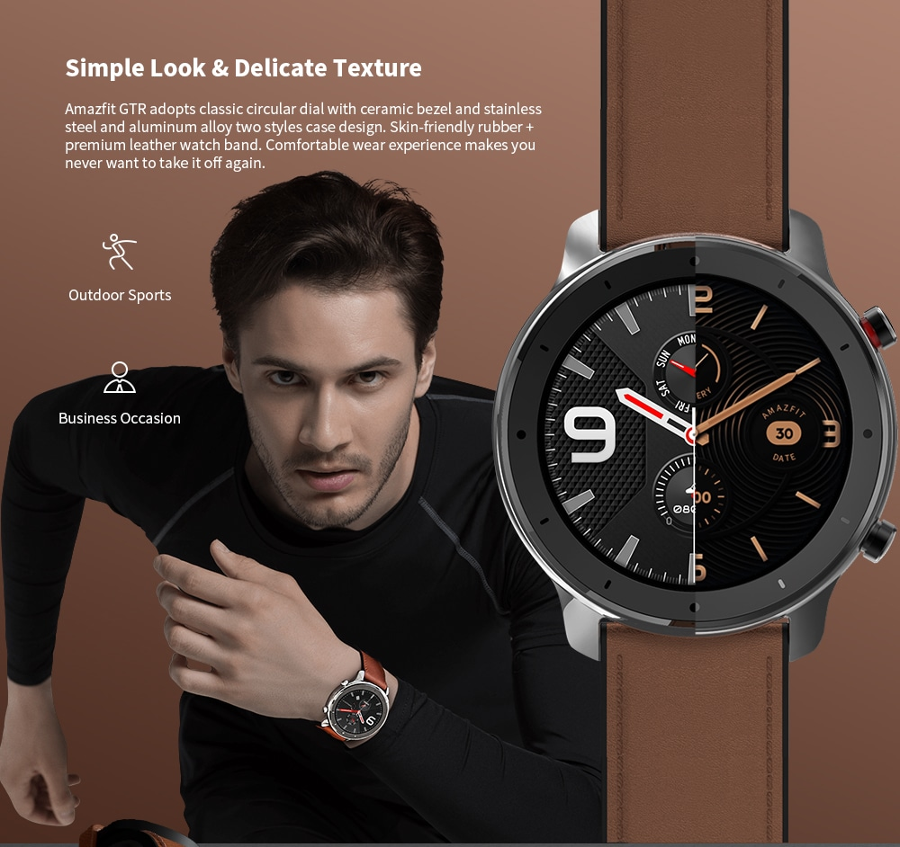 Đồng hồ thông minh AMAZFIT GTR 47mm 50 mét chống nước 12 chế độ thể thao- Vỏ hợp kim nhôm 47mm màu nâu